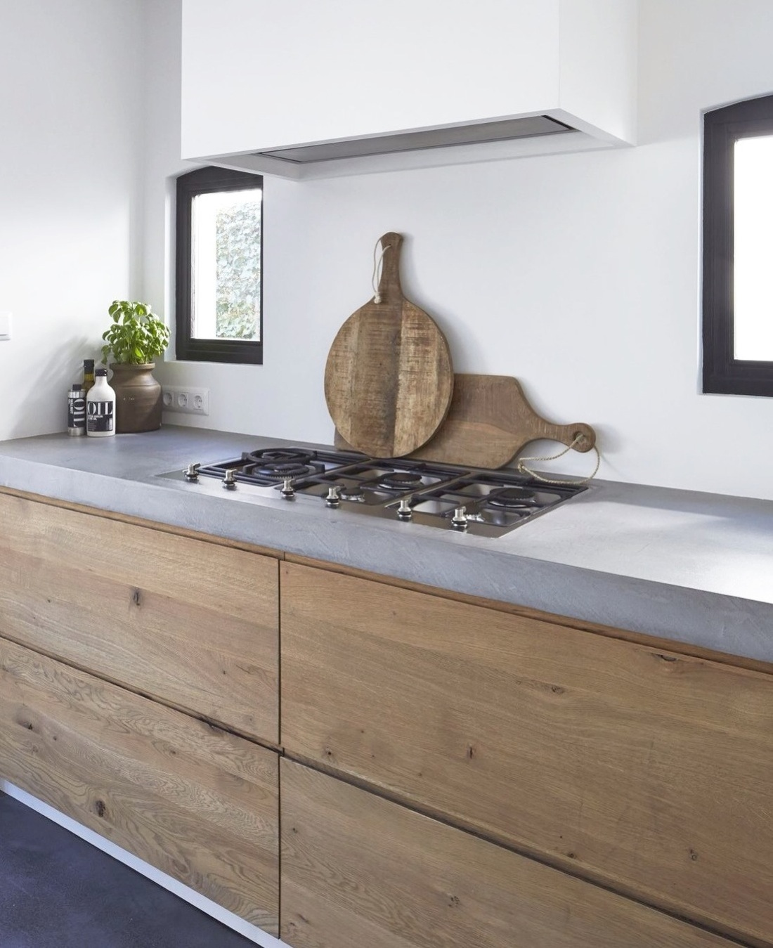 Recycled Timber Drawers Concrete Kitchen Counter