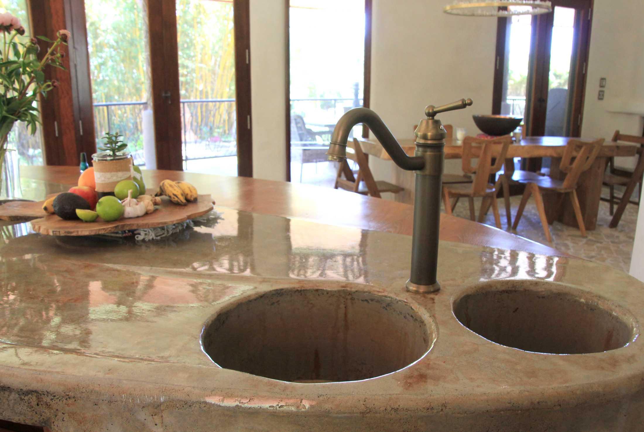 Handmade concrete kitchen island counter & sink