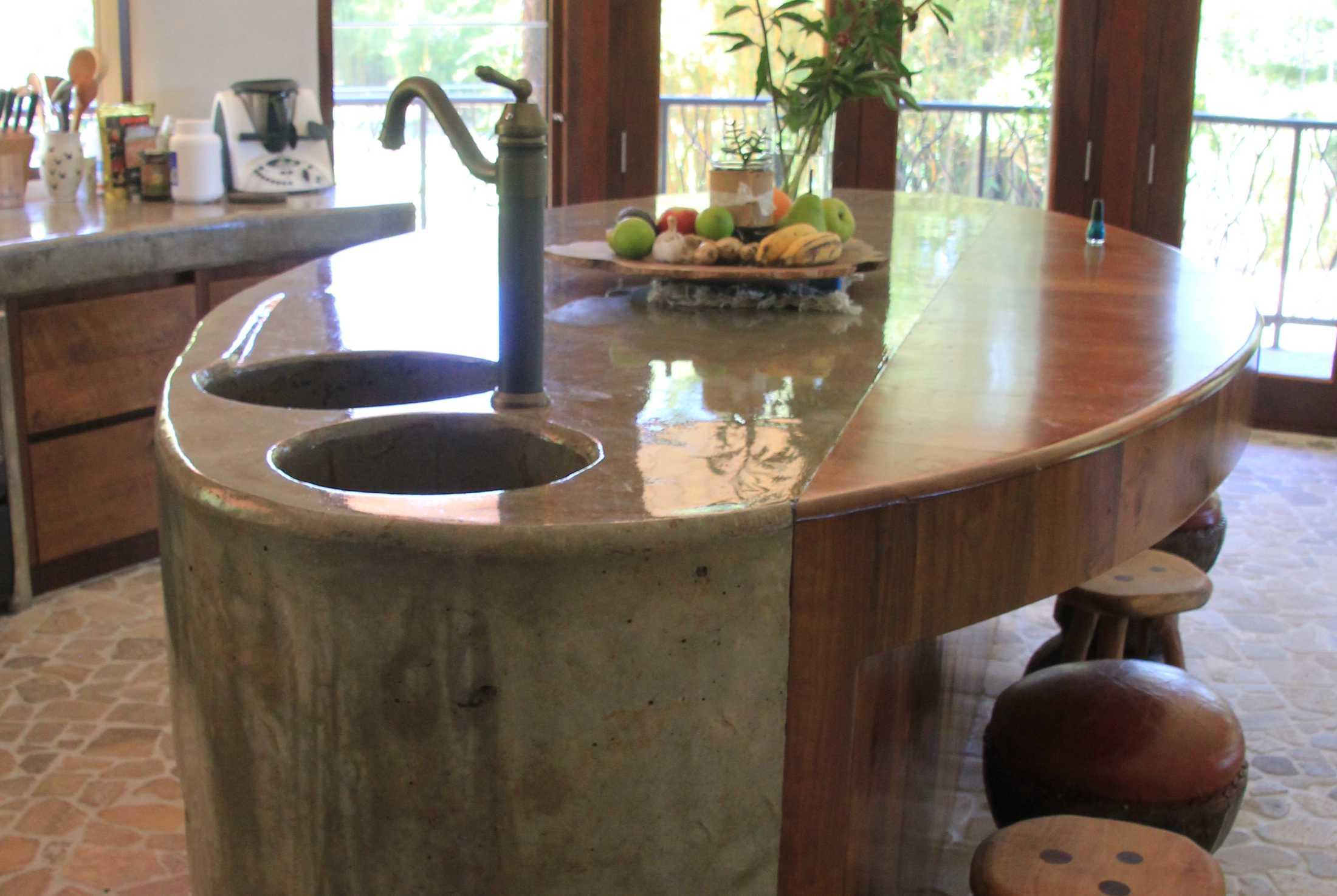 Handmade concrete kitchen island counter