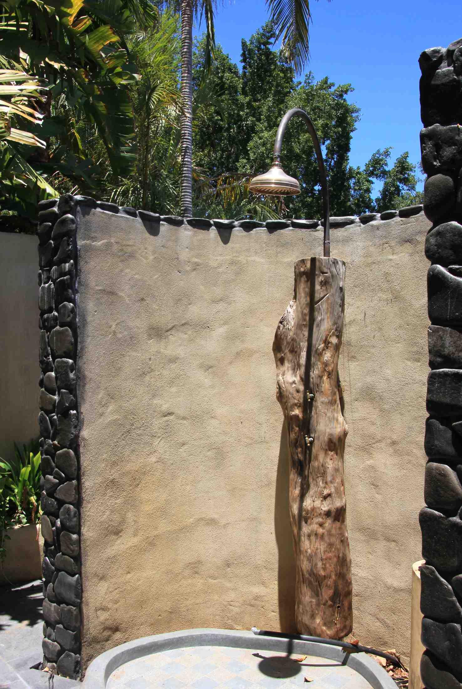 Outdoor timber log shower