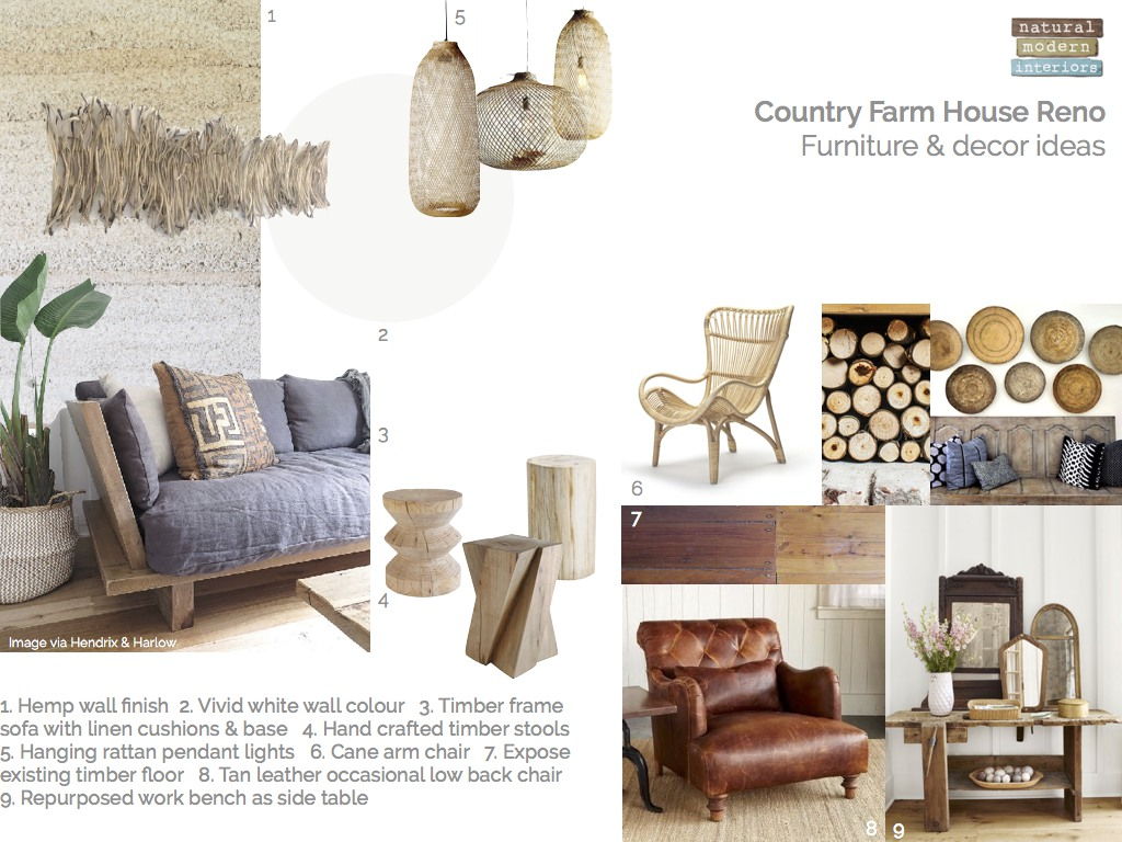 Country farm house furniture & decor ideas-mood board